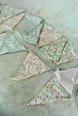 Bunting Floral Vintage Style Triangle Bunting Pink Red Blue Green White