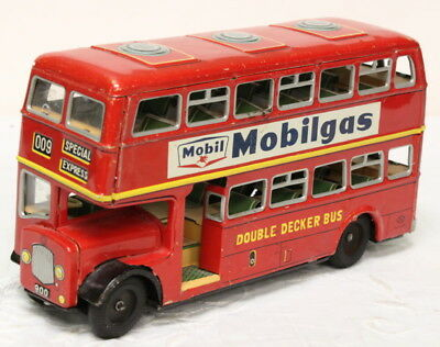 Vintage Mobilgas / Goodyear Double Decker Tin Model - Made in Japan