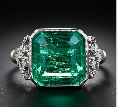 Antique Big 3 Ct Emerald Art Deco Vintage Engagement Ring 14k White Gold Over