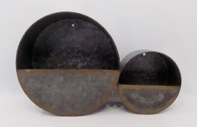 PAIR of Galvanized Round Wall Pockets Primitive Country Farmhouse Vintage
