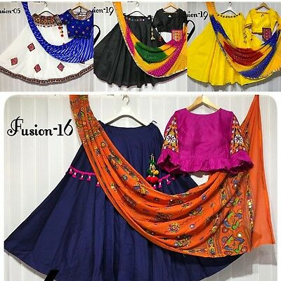 Indian traditional navratri (garba) outfit Lengha choli cotton with ready blouse