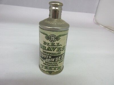 Vintage Advertising Dr E.l.graves Tooth Powder Tin Colletible  M-52