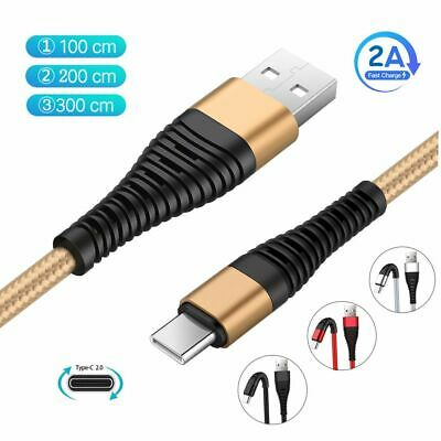 1~3M Braided Type C 2A Fast Charging Cable USB-C Rapid Cord Power Charger Charge