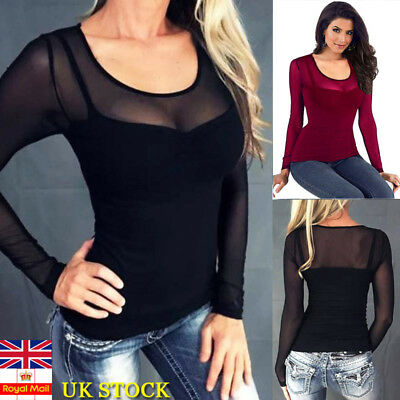 Plus Size Womens Long Sleeve Sheer Mesh See Through Plain Tops Stretch T-Shirt