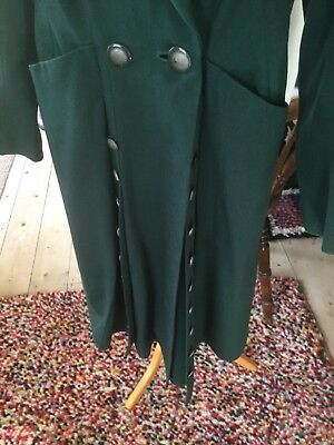 Vintage original 1940s gabardine ,dark green tailored coat  size 8/10