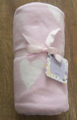 Ex store baby girls cot or cot cot bed pink fleece blanket Brand New with Tag