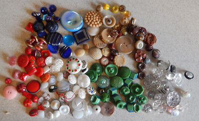 Lot of Antique Vintage Buttons Glass Assorted Colors #030-G