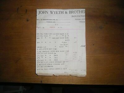 1911 Pharmaceutical Invoice John Wyeth Brothers Philadelphia PA