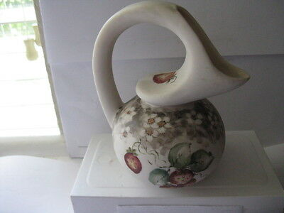 Vintage Hand Painted Small Porcelain Water Pitcher - Very Unique signed