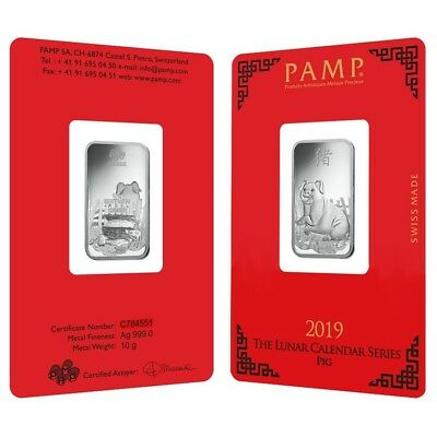 Lot of 2 - 10 gram PAMP Suisse Year of the Pig Silver Bar (In Assay)