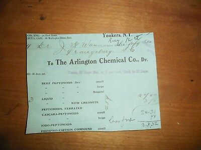 1911 Pharmaceutical Invoice The Arlington Chemical Company Yonkers New York