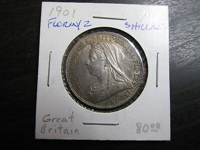 1901 Great Britain Silver Florin/2 Shillings in AU Condition