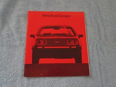 1984 FORD TEMPO Original Color Showroom Car Sales Brochure. Auto; 24 Pages- Red