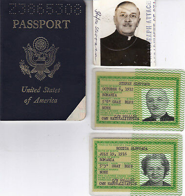 USA, Passport issued in Romania, Certificate of Naturalization, 2 Identity Cards