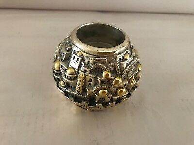 Original Karshi Jerusalem Holy land Marked 925 Silver Electroform Candle Holder