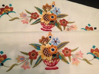 Vintage Hand Embroidered Chair Backs X 2 ~ Beautiful Bowls Of Flowers