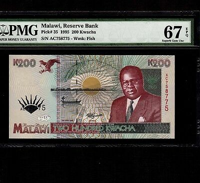 Malawi 200 Kwacha 1995 P-35 * PMG Superb Gem Unc 67 EPQ * Elephants *