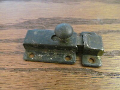 Vintage Original Metal Cabinet Cupboard Door Slide handle Latch and Keeper
