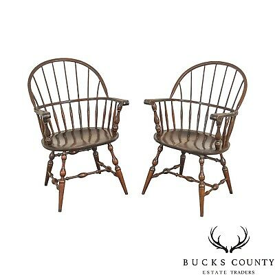 S. Bent & Bros Vintage Pair Maple Windsor Arm Chairs