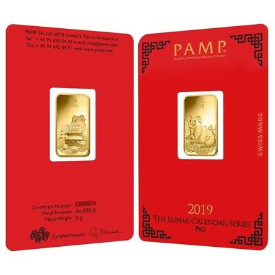 Lot of 2 - 5 gram PAMP Suisse Year of the Pig Gold Bar (In Assay)