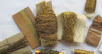 Large Lot 14 Different Gold Silver Metallic Threads French