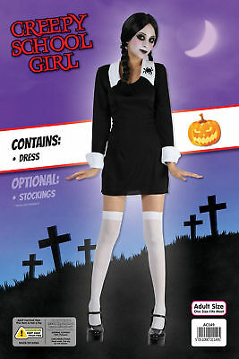 e191d634b46 HALLOWEEN BLACK DRESS Creepy School Girl Adam Family Fancy Dress ...