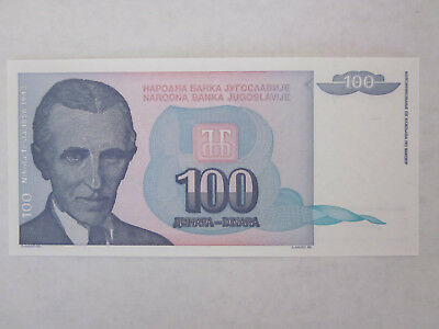 100 dinara 1991 unc. Yugoslavian Banknote Tesla / world currency paper money