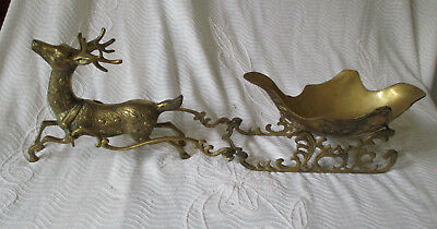 "Vintage 23"" Brass Reindeer Deer & Sleigh Holiday nut candy dish bowl 5 pieces"