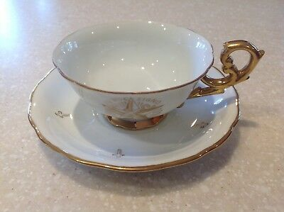 Aq- Vintage Mason Cup & Saucer In Hoc Signo Spes Mea