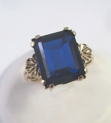 ANTIQUE Vintage 10K YELLOW GOLD ROYAL BLUE EMERALD CUT SPINEL RING Sz 6.25