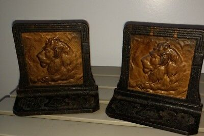Pair Antique Cast Iron Bronzed ? Bookends Art Deco with Lion Ma Bell ?