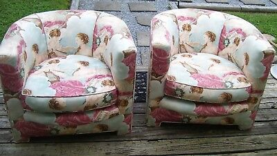 "Vintage Mid Century Barrel Club Chairs Pair- ""unique Cherub Fabric"""