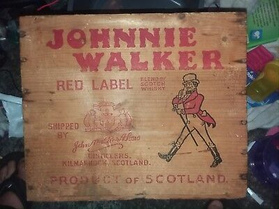 JOHNNIE WALKER Red Label Scotch Whiskey Scotland Wood Liquor Crate Wooden Box