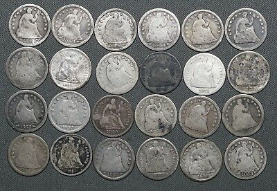 1853 - 1878 Seated Liberty Half Dimes, Lot of 24 Coins