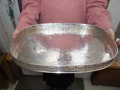 """Large Silver Plated Tray Ornate Gallery Embossed Swags Lovely Condition 17"""" Long"""