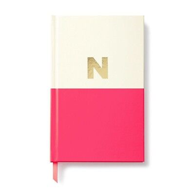 """Kate Spade New York Gold Foil Initial """"N"""" Dipped Notebook Pink"""