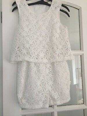 Girls Pure Lace  Playsuit White 10yrs New