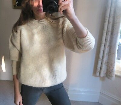 Barbour New Pure Wool Vintage Thick Heavy Knit Winter Beige Classic Jumper