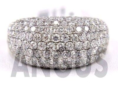 Real 14K White gold 2.99 ct Diamond Round Anniversary Band Engagement Ring