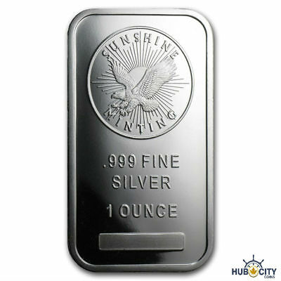 Sunshine Mint 1oz .999 Fine Silver Bar Mint Mark SI Sealed