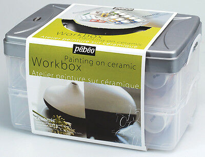 Pebeo Ceramic Paint Workbox Set Assorted Colours & Accessories 10 x 45ml