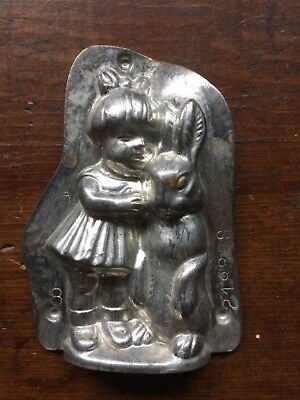 Vintage Metal Chocolate Mold Little Girl With Easter Bunny