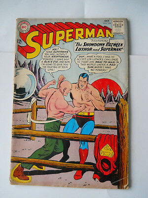 1963 SUPERMAN  D.C. COMIC OCTOBER No .164  THE  SHOWDOWN  luthor and superman