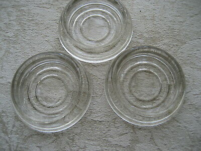 """3 Vintage Clear Glass Coasters CONCENTRIC CIRCLE DESIGN Furniture  3"""" dia"""