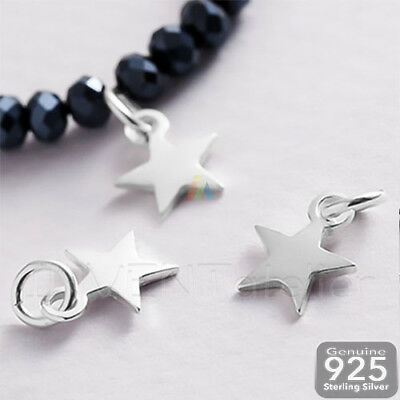 925 Sterling Silver TINY STAR Pendant Charm with Jump Ring 8,5mm