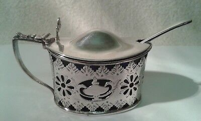 Vintage Silver Mustard Pot with Blue Glass Liner & Antique Silver Spoon.