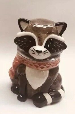 Harvest Raccoon CANDY Jar: 100% Earthenware Ceramic, Brand NEW - Great Fall Item