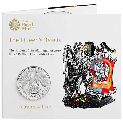 2019 United Kingdom £5 BU Coin Queen's Beasts-The Falcon of the Plantagenets