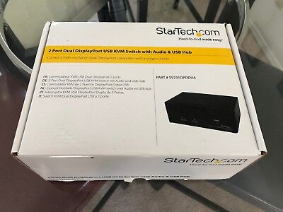 StarTech 2 Port Dual DisplayPort USB KVM Switch with Audio & USB 2.0 Hub