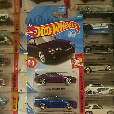 Hot Wheels 2018 Jdm Import Nissan Skyline Gt-R R33 Blue And Purple Both Colors
